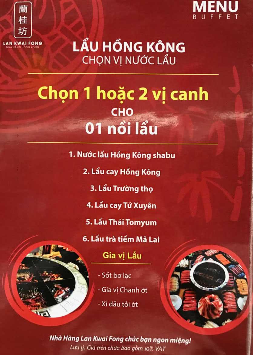 Menu Lan Kwai Fong - Thái Hà 1
