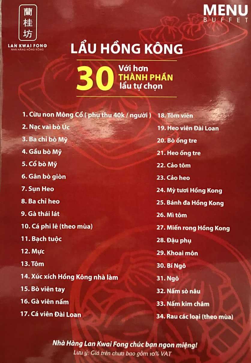 Menu Lan Kwai Fong - Thái Hà 2
