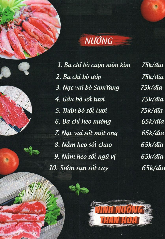 Menu Ninh Nướng Than Hoa - Hà Đông 6