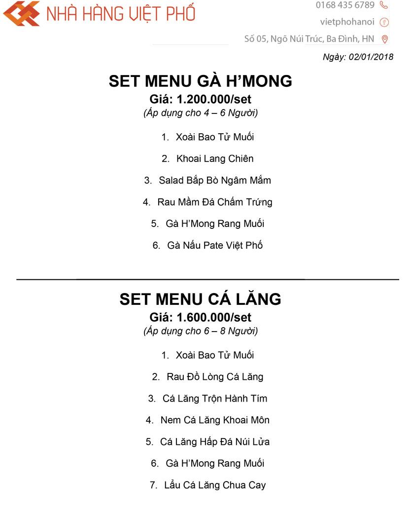 Menu Việt Phố Hà Nội 3