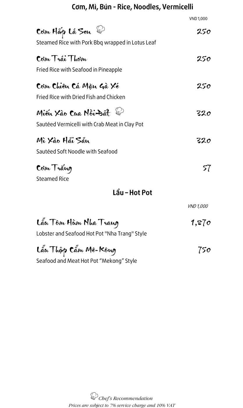 Menu Mandarine -  Ngô Văn Năm 8