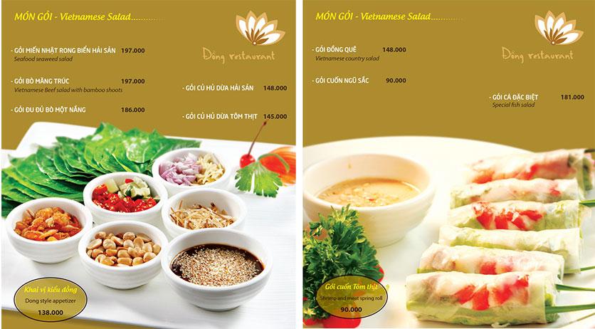 Menu Đồng Restaurant – Lê Quý Đôn 1