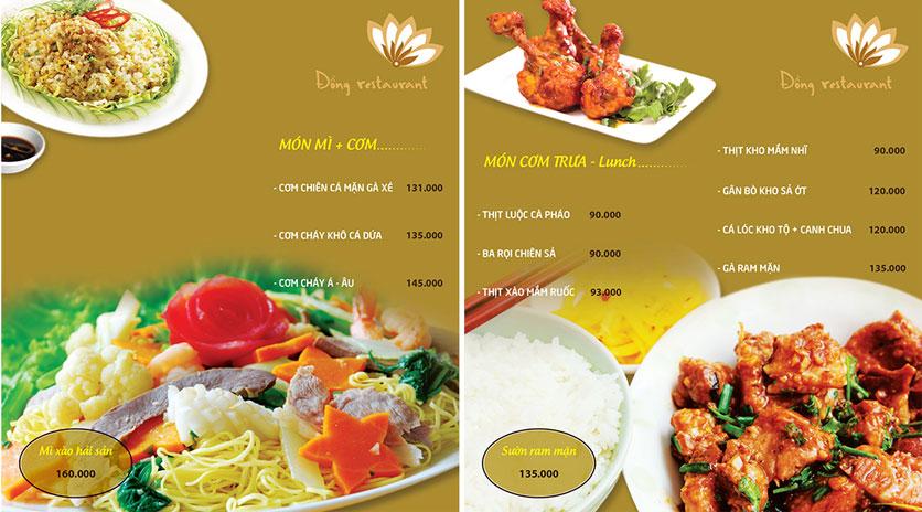 Menu Đồng Restaurant – Lê Quý Đôn 10