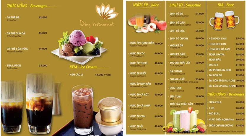 Menu Đồng Restaurant – Lê Quý Đôn 12