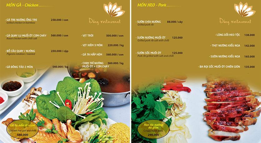 Menu Đồng Restaurant – Lê Quý Đôn 7