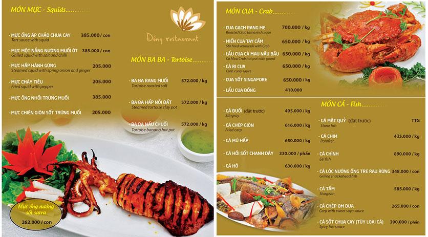 Menu Đồng Restaurant – Lê Quý Đôn 8