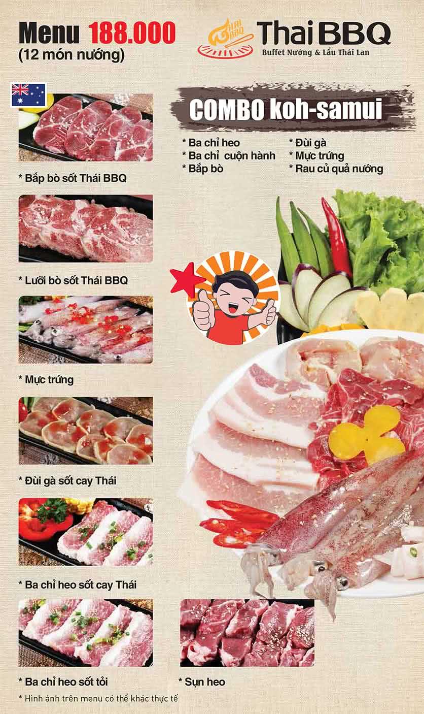 Menu Thái BBQ - Vincom Center 1