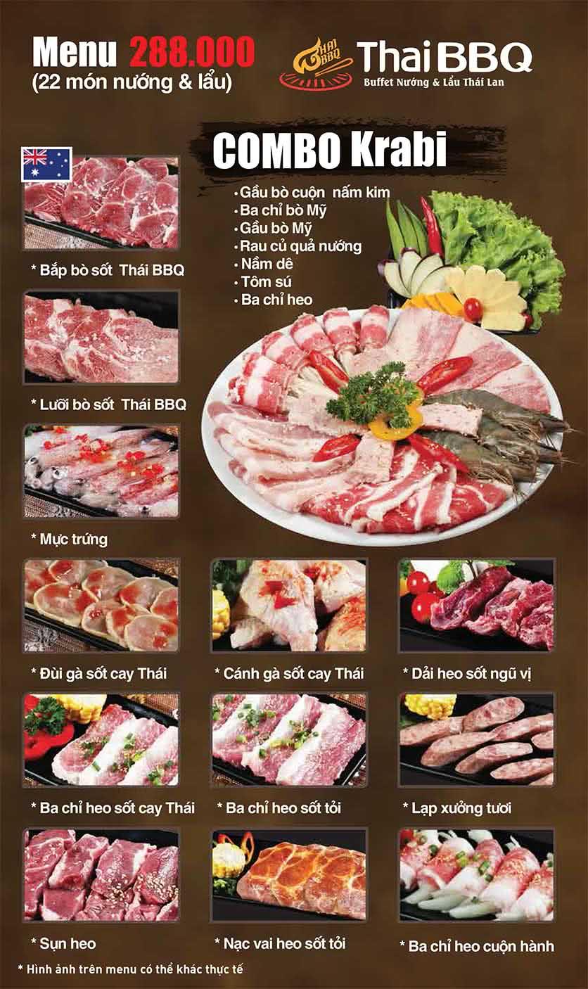 Menu Thái BBQ - Vincom Center 3