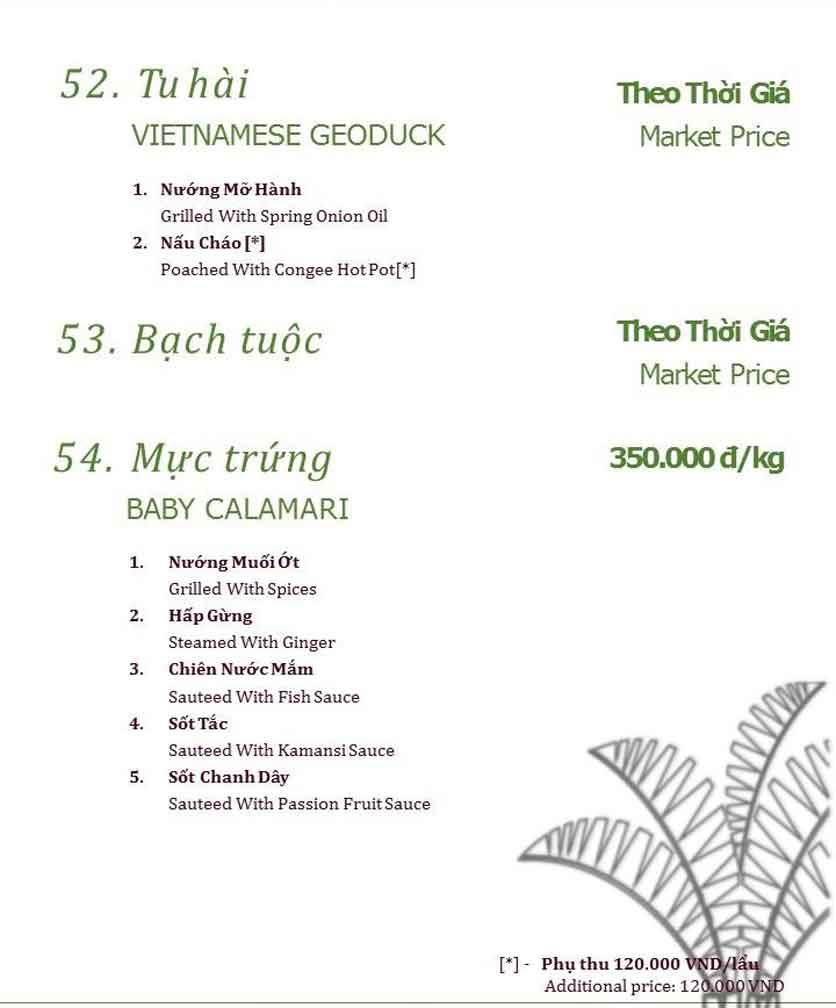 Menu Làng ẩm thực Cù Lao Xanh - Nguyễn Đức Cảnh 9