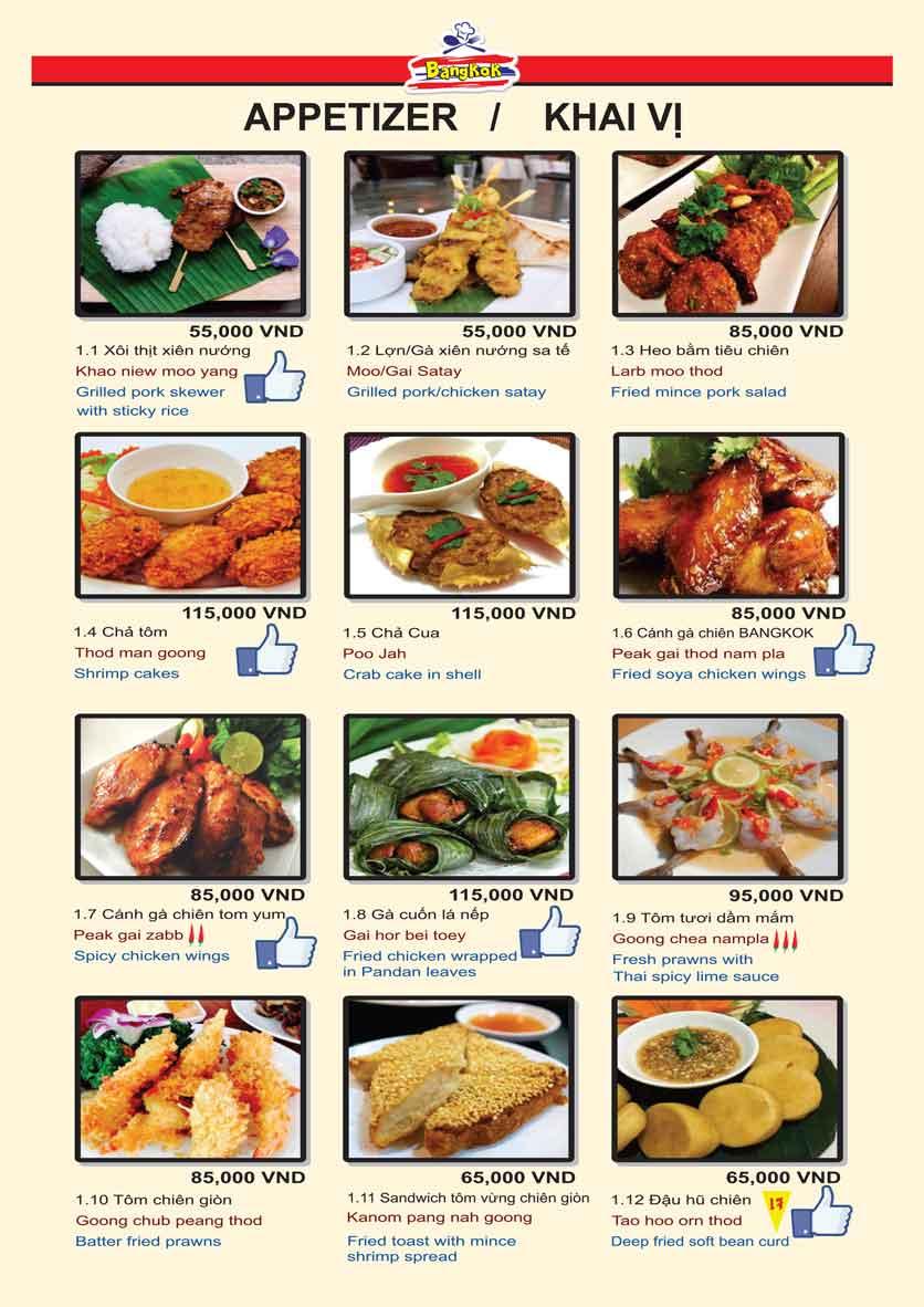 Menu Bangkok Thai Cuisine - Giảng Võ 3