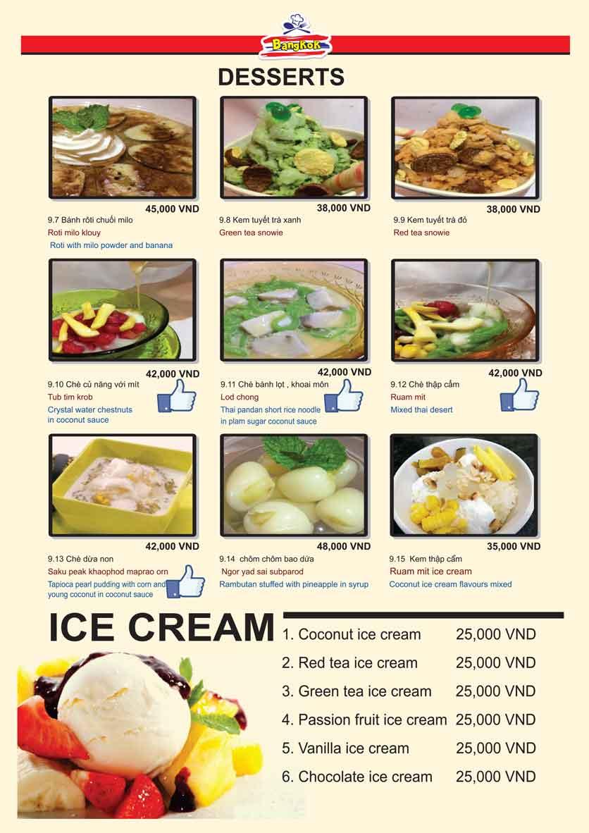 Menu Bangkok Thai Cuisine - Giảng Võ 12