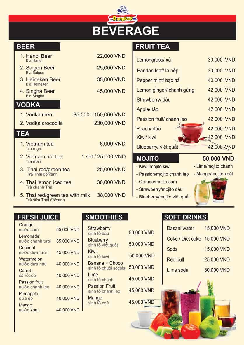 Menu Bangkok Thai Cuisine - Giảng Võ 13