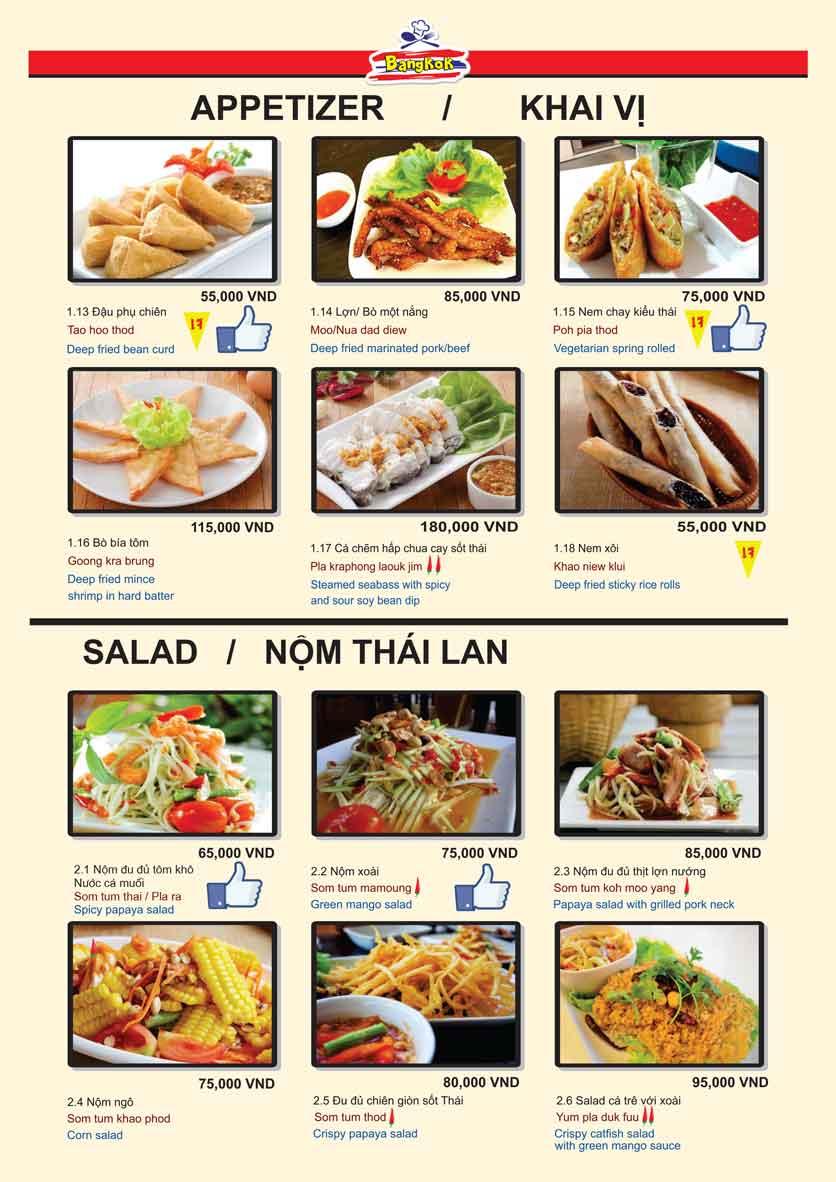 Menu Bangkok Thai Cuisine - Giảng Võ 4