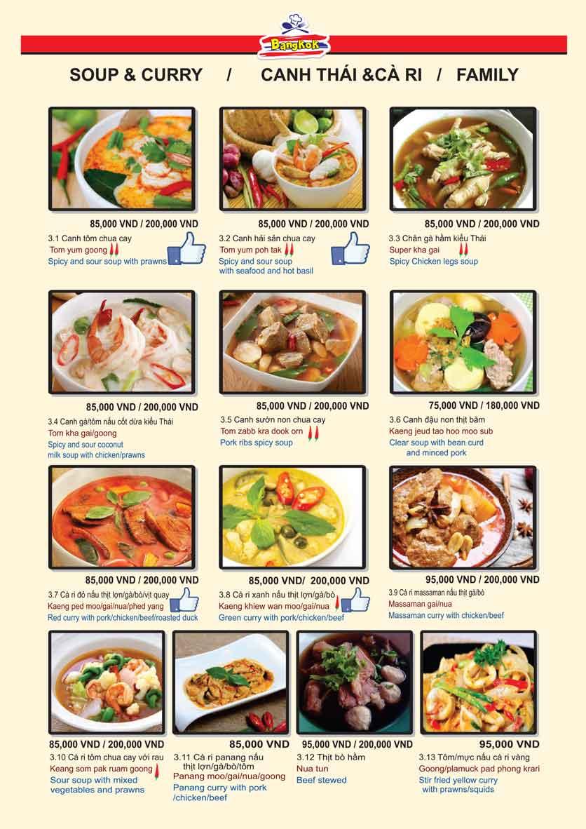 Menu Bangkok Thai Cuisine - Giảng Võ 6