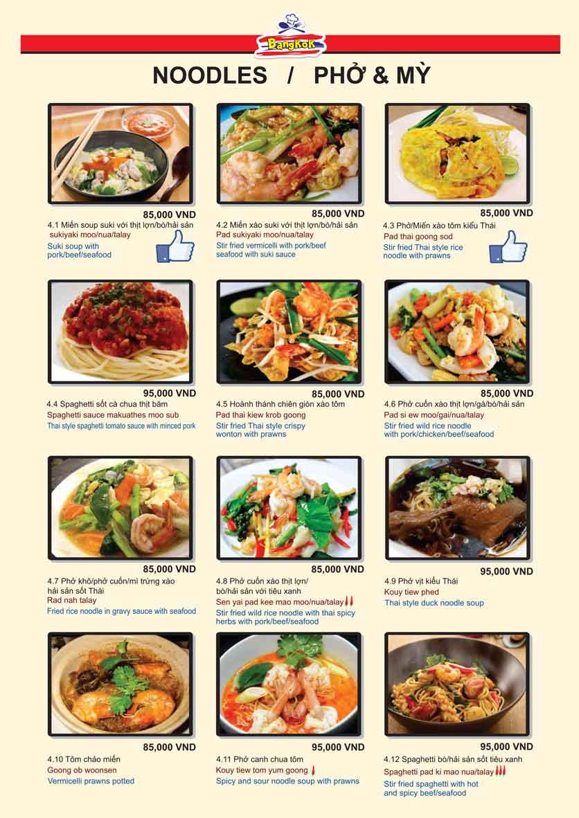 Menu Bangkok Thai Cuisine - Giảng Võ 7