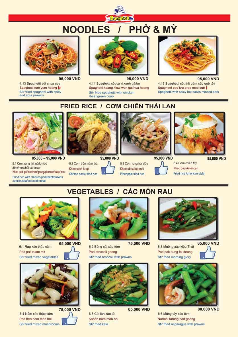 Menu Bangkok Thai Cuisine - Giảng Võ 8