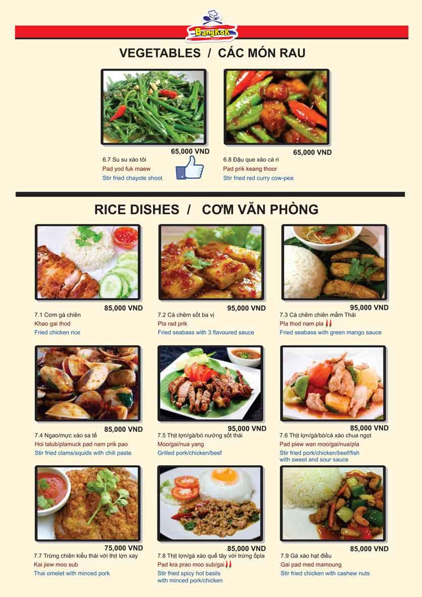 Menu Bangkok Thai Cuisine - Giảng Võ 9