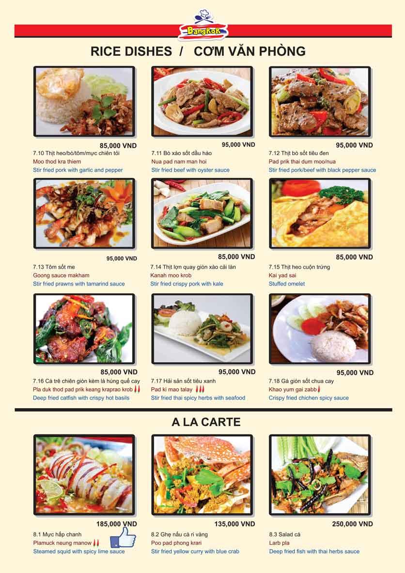 Menu Bangkok Thai Cuisine - Giảng Võ 10