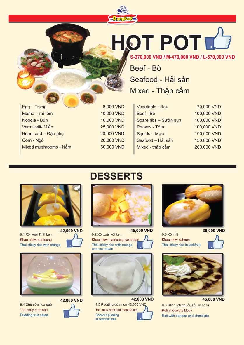 Menu Bangkok Thai Cuisine - Giảng Võ 11