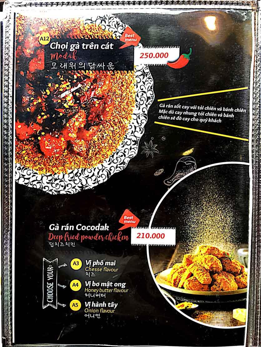 Menu Cocodak Korean Restaurant - Lý Tự Trọng  5