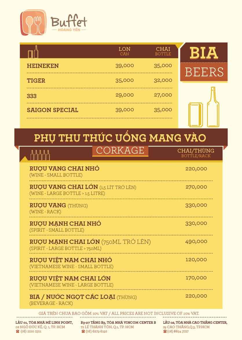 Menu Hoàng Yến Buffet - Cao Thắng Mall 4