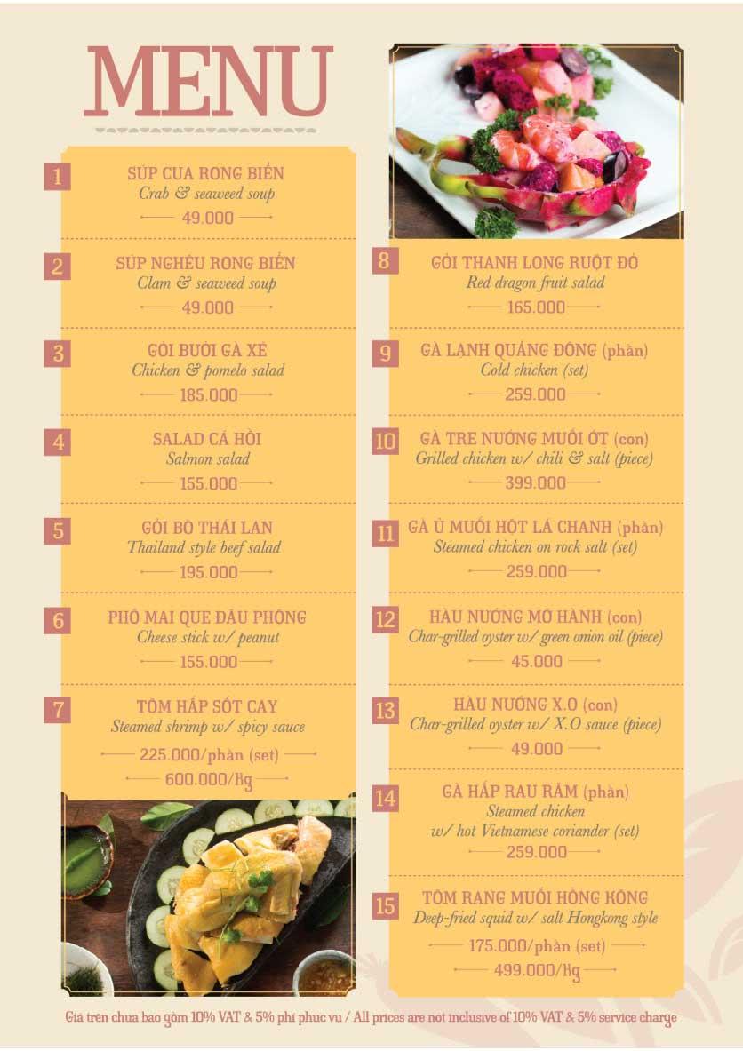 Menu Hoàng Yến Cuisine – Ngô Đức Kế 25