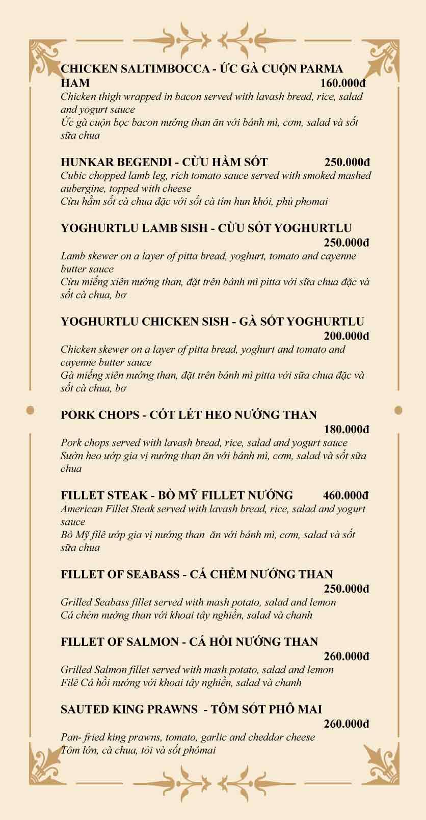 Menu Mapa Wine Bar And Grill Restaurant  5
