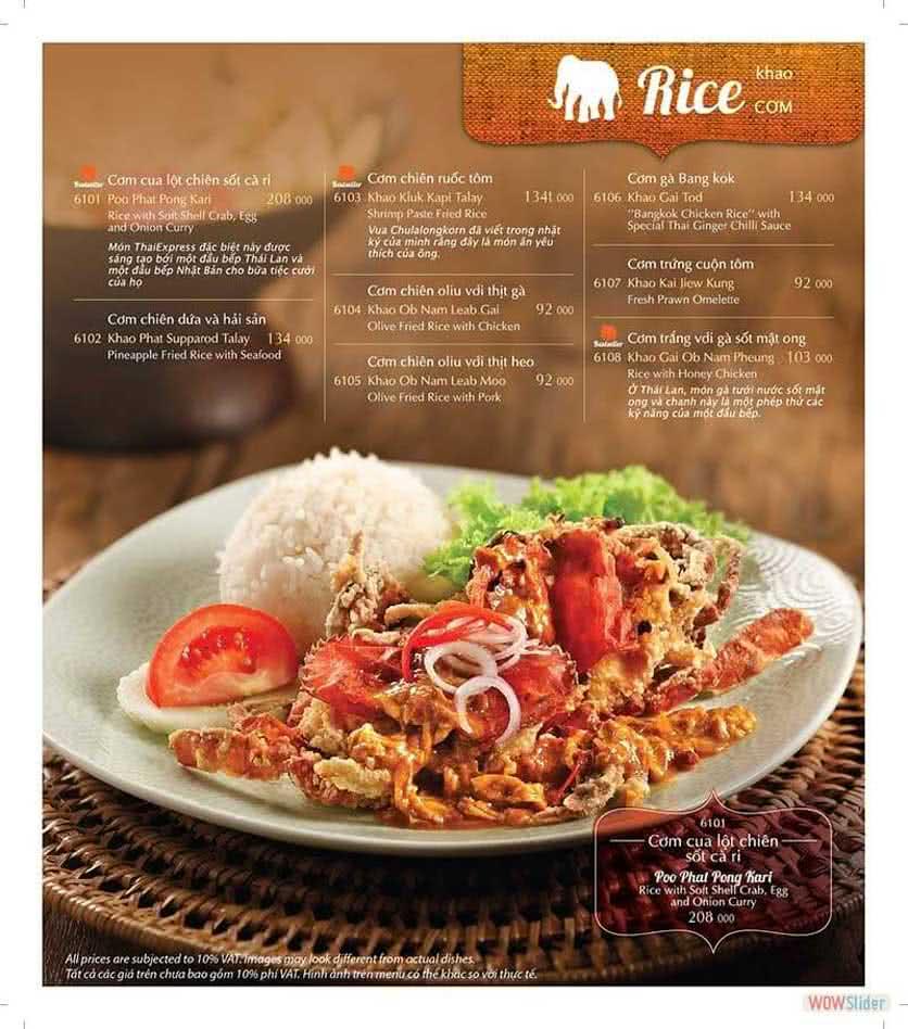 Menu ThaiExpress - Times City 10