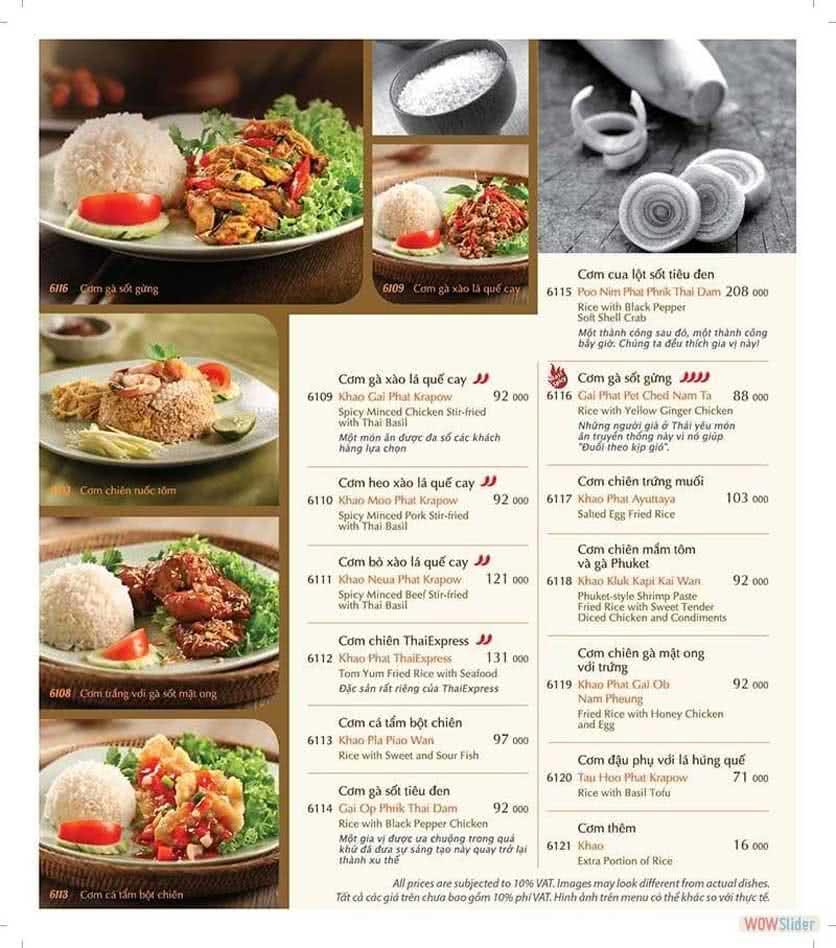 Menu ThaiExpress - Times City 11