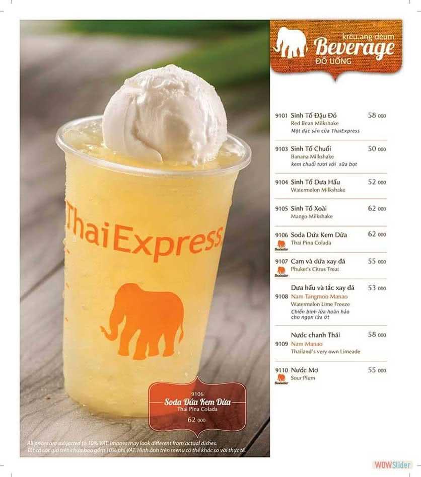 Menu ThaiExpress - Times City 16