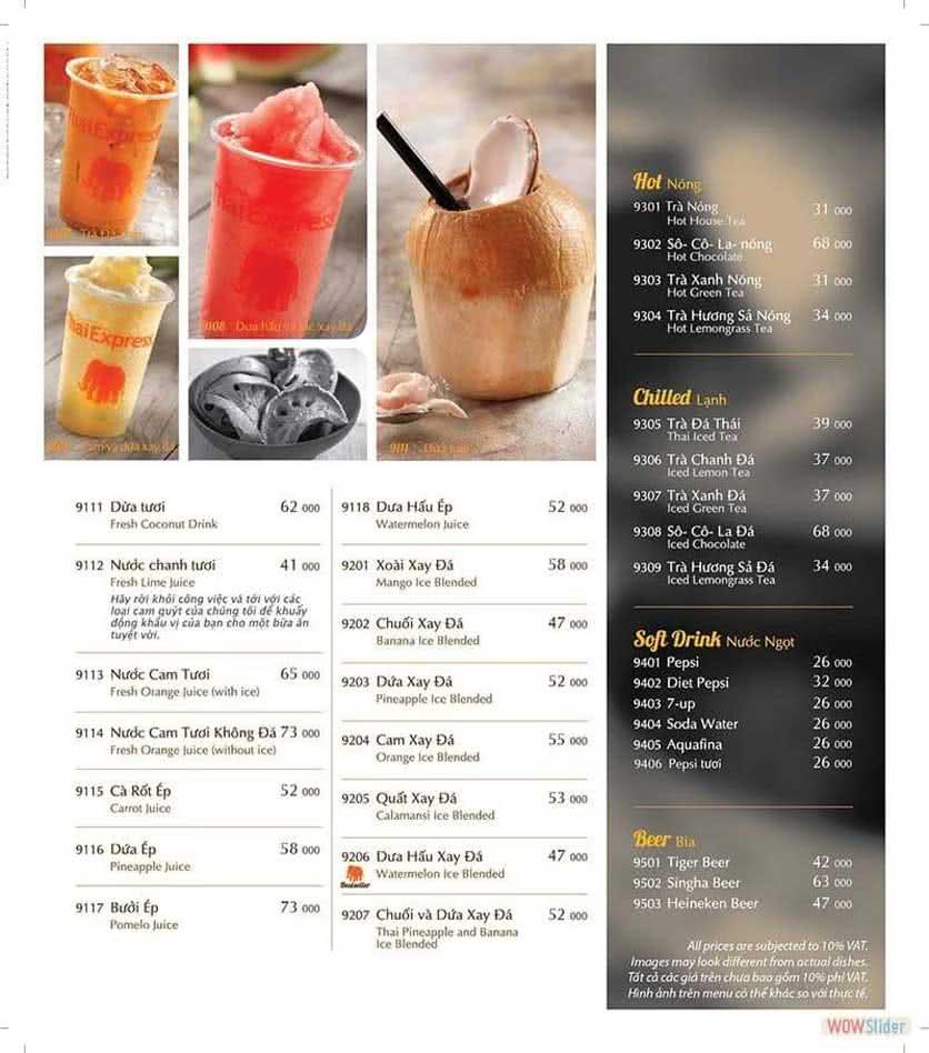 Menu ThaiExpress - Times City 17