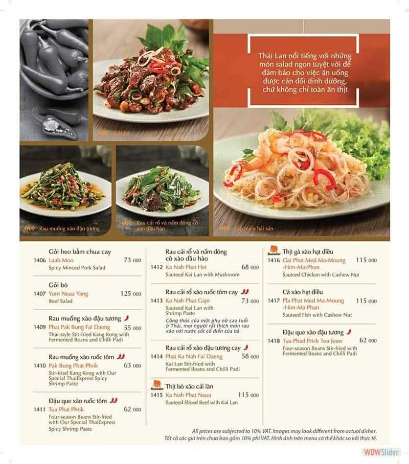 Menu ThaiExpress - Times City 5