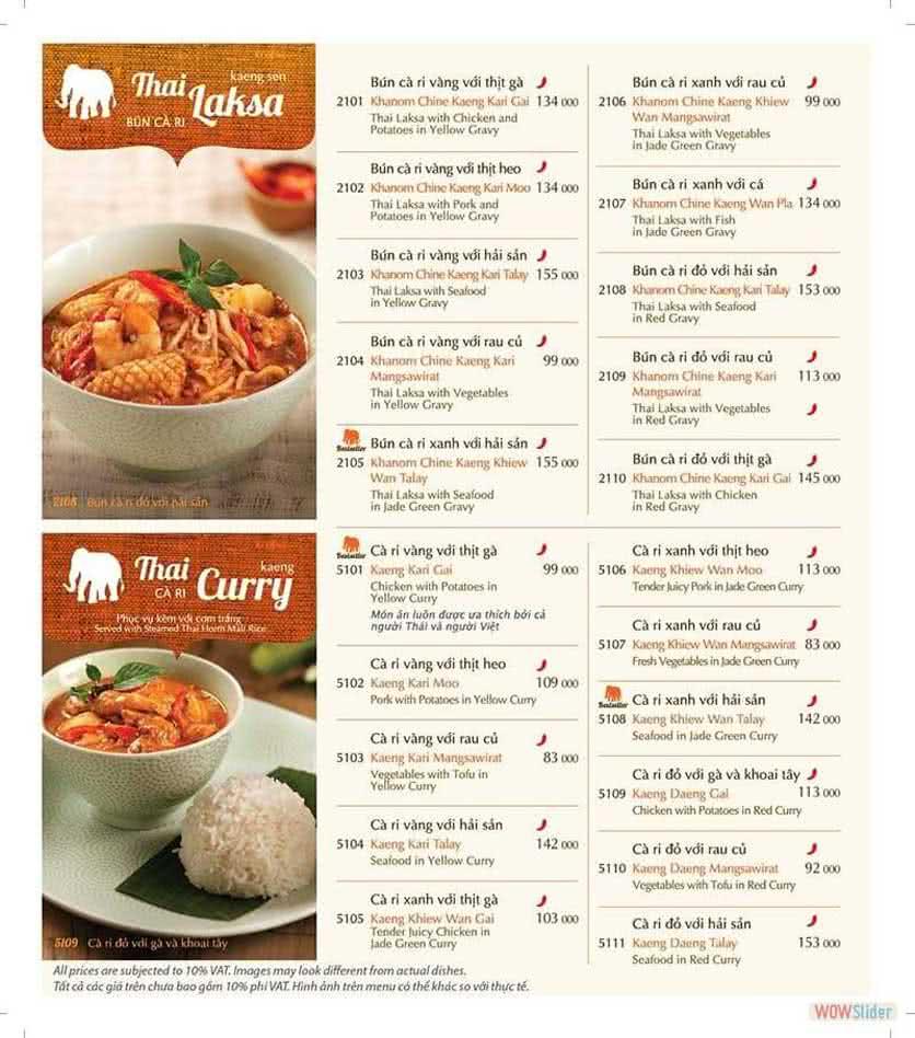 Menu ThaiExpress - Times City 6