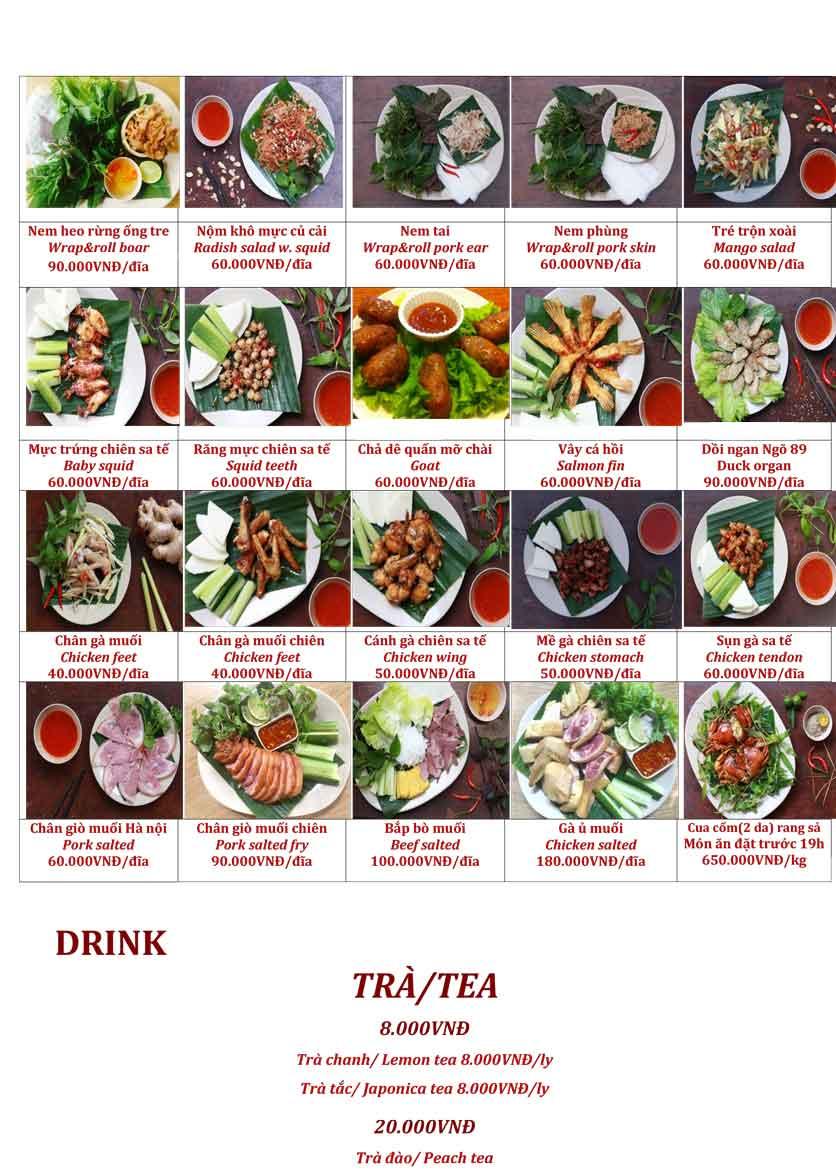 Menu Ngõ 89 – Nguyễn Du 2