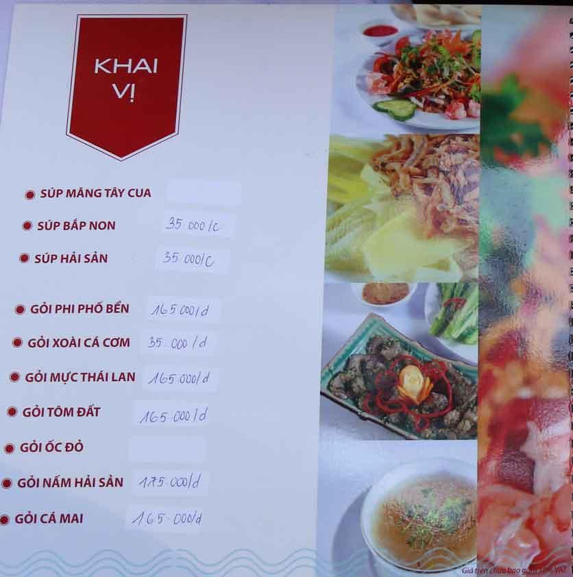 Menu Nhà hàng Phi Phố Biển - Lê Hồng Phong  1