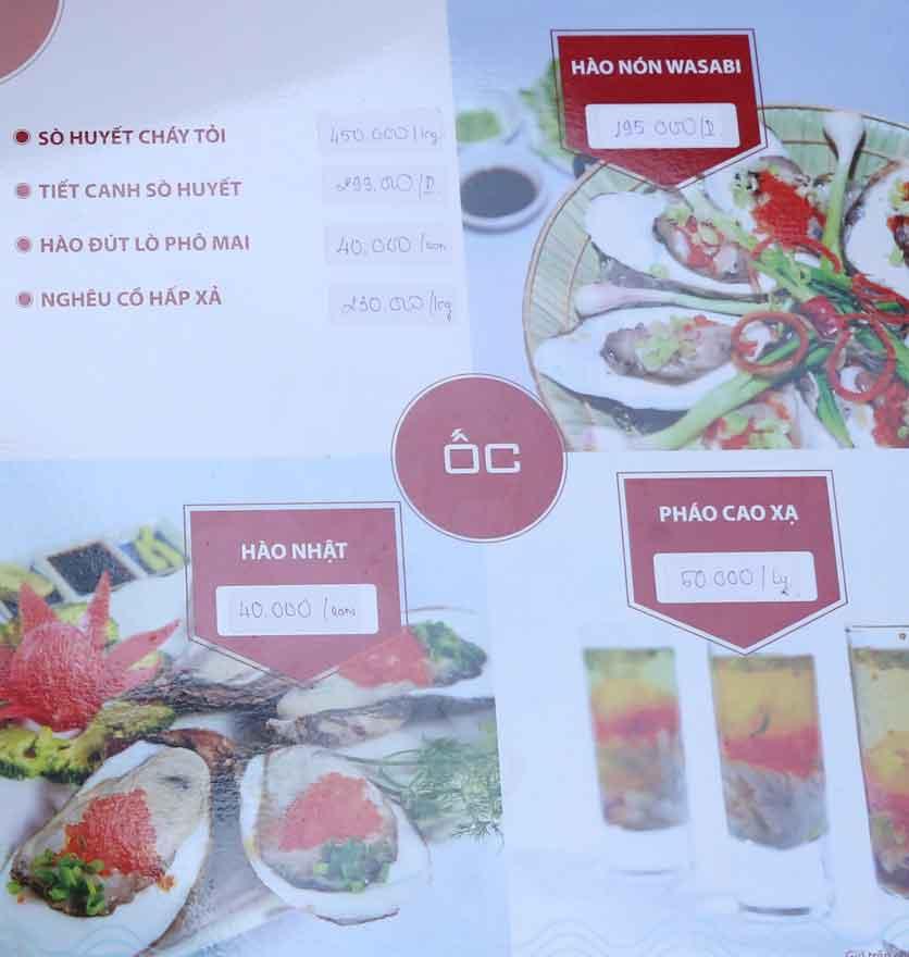 Menu Nhà hàng Phi Phố Biển - Lê Hồng Phong  2