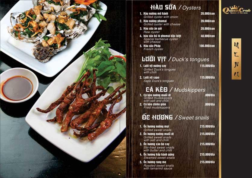 Menu Queen Crab - Hoàng Đạo Thúy 4
