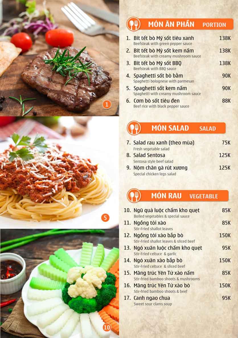Menu Nhà hàng Sentosa  9