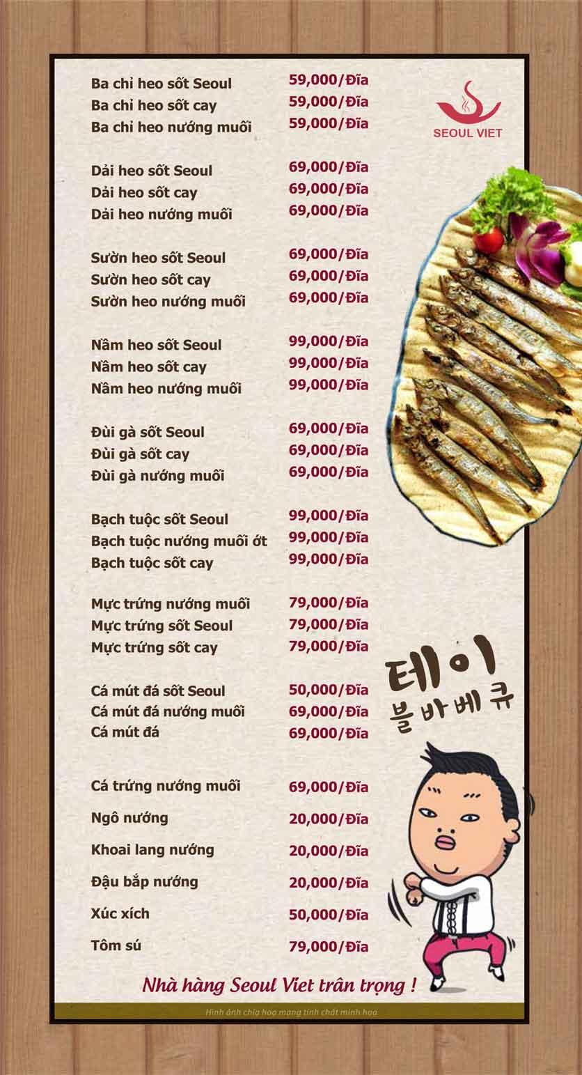 Menu Seoul Viet - Linh Đàm 12
