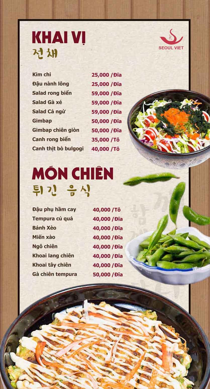 Menu Seoul Viet - Linh Đàm 9