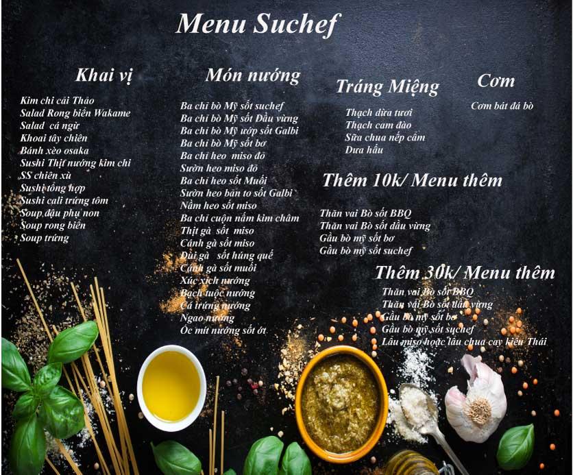 Menu Suchef BBQ - Hà Đông 1