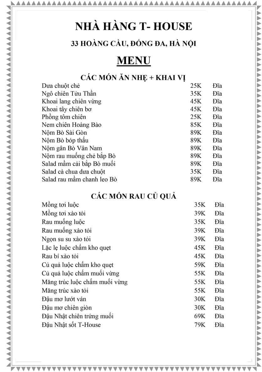 Menu T-House - Đại Cồ Việt 5
