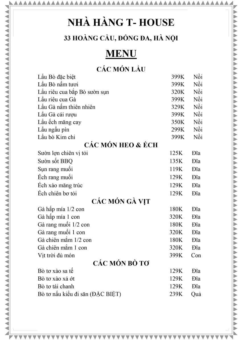 Menu T-House - Đại Cồ Việt 7