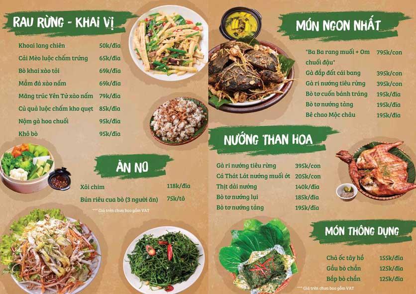 Menu Tân Lương Sơn  1