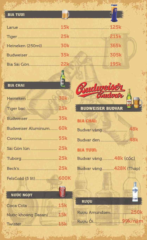 Menu T+ Beer Club – Đường Láng 8