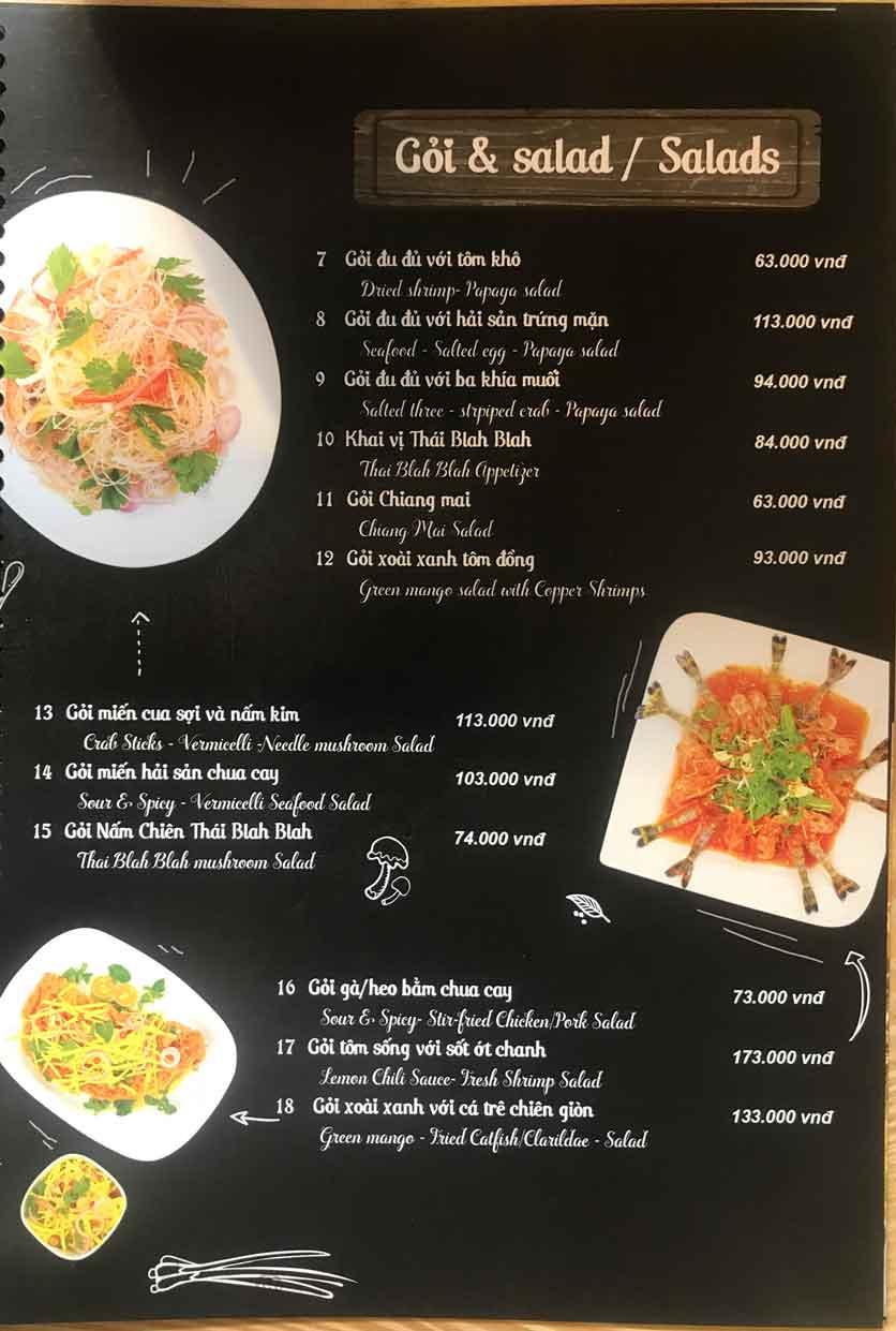 Menu Thái Blah Blah - Nguyễn Hữu Cảnh 4