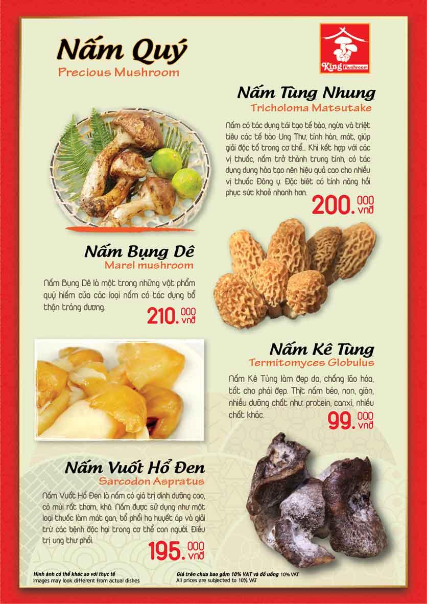 Menu Vua Lẩu Nấm Thiên Nhiên - King Mushroom - Huỳnh Thúc Kháng 3