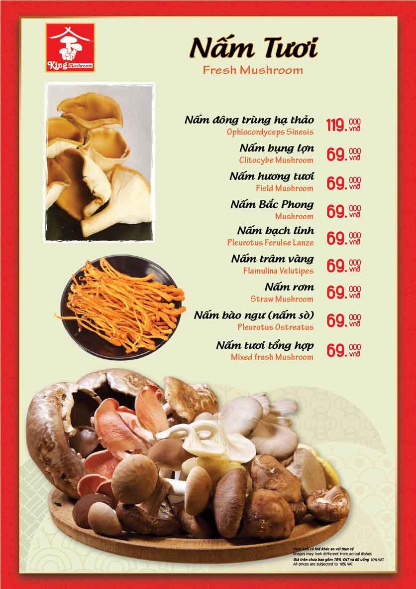Menu Vua Lẩu Nấm Thiên Nhiên - King Mushroom - Huỳnh Thúc Kháng 5
