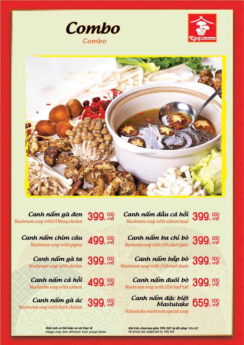 Menu Vua Lẩu Nấm Thiên Nhiên - King Mushroom - Huỳnh Thúc Kháng 8