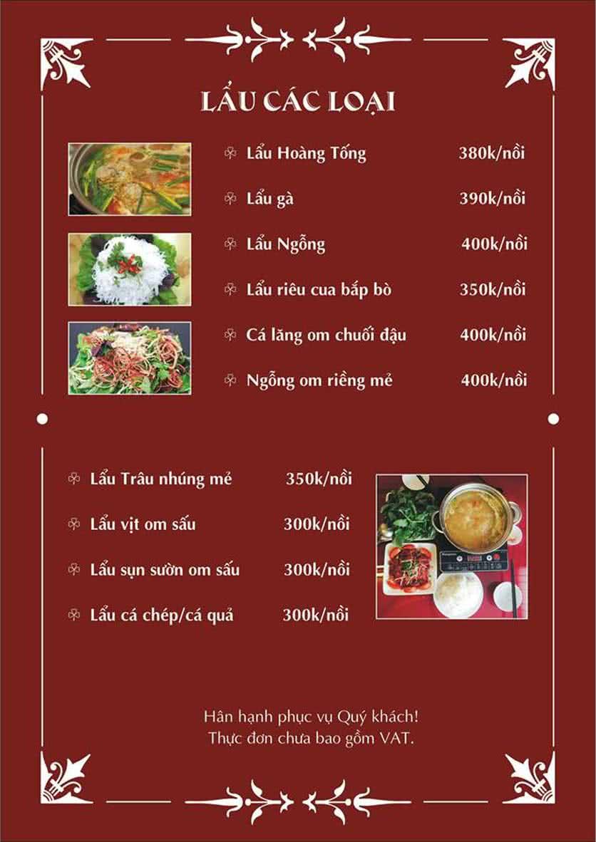 Menu Hoàng Tống - Phạm Hùng 5